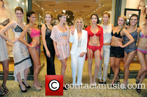 Britney Spears and models at lingerie launch in Germany