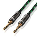 FRiEQ® 3.5mm Male To Male Car and Home Stereo Cloth Jacketed Tangle-Free Auxiliary Audio Cable (4 Feet/1.2M) Fits Over Tablet & Smart Phone Cases For Apple iPad, iPhone, iPod, Samsung Galaxy, Android, MP3 Players Black/Green (Plug will be Fully Seated with Phone Case On)