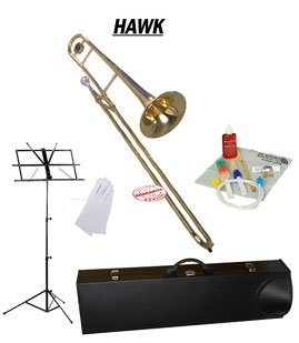 Hawk Gold Lacquer Slide Tenor Bb Trombone School Package