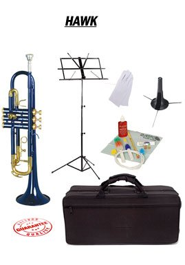 Hawk Blue Bb Trumpet School Package with Case Music Stand