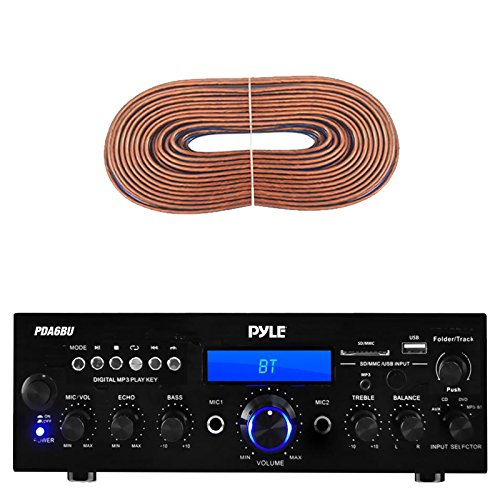 Pyle PDA6BU Amplifier Receiver Stereo, Bluetooth, AM/FM
