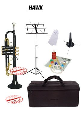 Hawk Black Bb Trumpet School Package with Case Music Stand