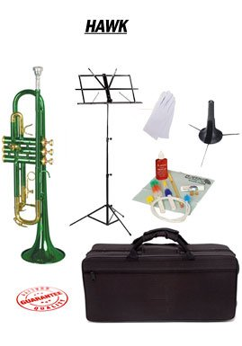 Hawk Green Bb Trumpet School Package with Case Music Stand