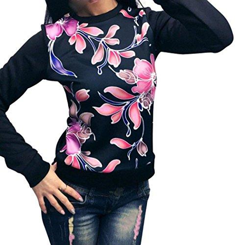 Kimloog Hot Sale! Women Crewneck Long Sleeve Floral Print