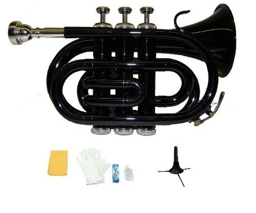 Merano B Flat Black Pocket Trumpet with Case+Mouth