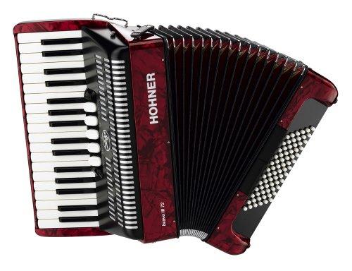 Hohner Bravo Piano Accordion, 72 Bass, Red